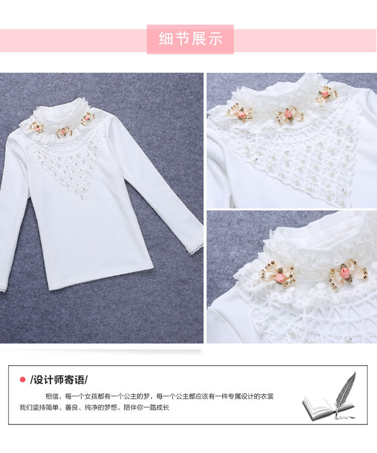 Girls Blouse Girl Shirt for School White Kids School Lace Shirt Cotton Long Sleeve Bottoming Base Blouse Children's Clothing