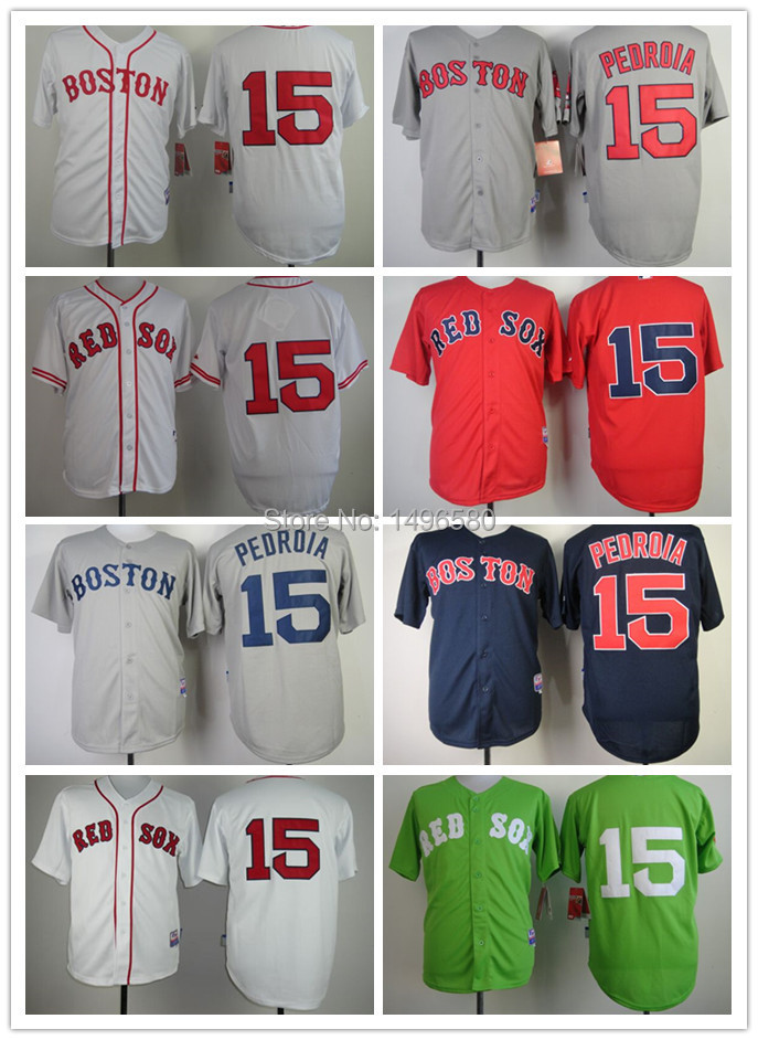 Hot Sale 2015 Cheap Boston Red Sox #15 Dustin Pedroia Baseball Jerseys White blue red green Gray Authentic Sport Shirt Wholesale(China (Mainland))