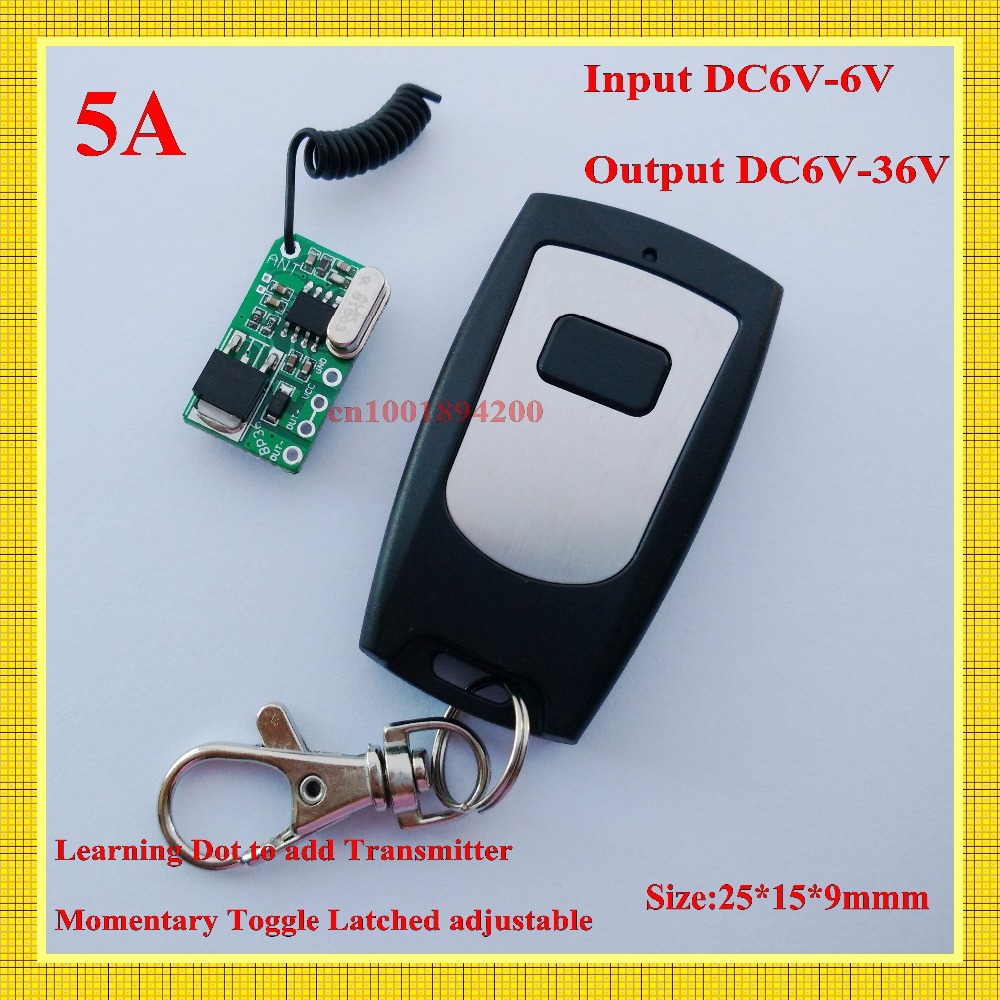 MICRO RF Wireless Remote Control Switch Mos No Sound Receiver Input DC6V-36V Output  DC6V-36V Learning Code Momentary Toggle<br><br>Aliexpress