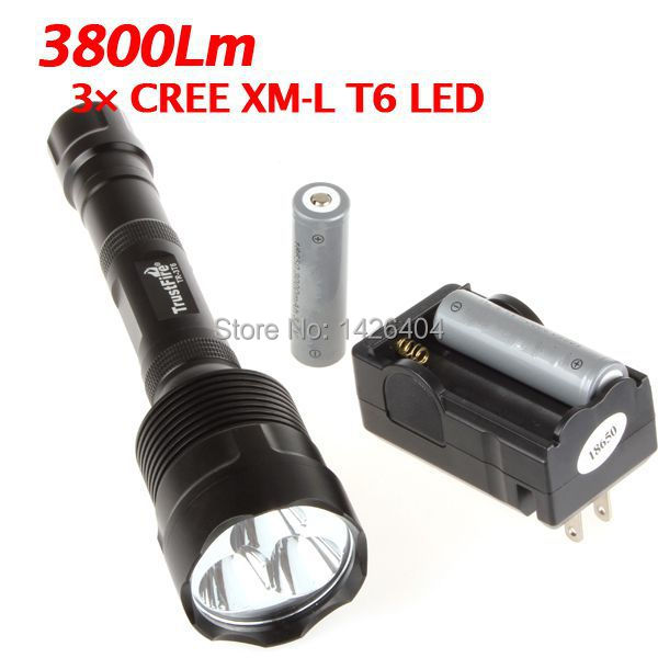 Free shipping Hot cheap 4000 Lumen 3x CREE XM-L XML T6 LED Flashlight Torch + Holster Light 30W Lamp 2x 18650 Battery Charger(China (Mainland))