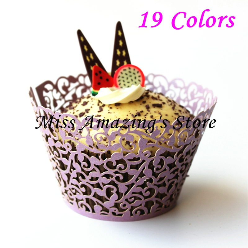 50pcs Laser Cut Lavender Wedding Birthday Celebration Filgree Vine Cupcake Wrappers Wraps Cases(China (Mainland))