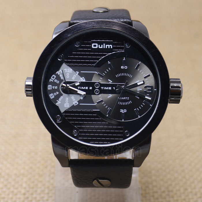 Oulm Men Watch with Double Movt Numbers and Strips Hours Marks Leather Band Quartz men sports
