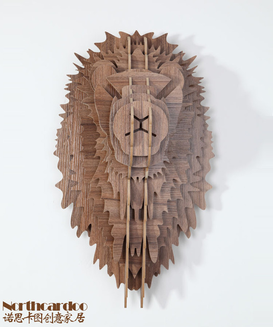 Lion head Wall hanging decoration,wooden wall art,good wood lion,animal head home decoration,lion wood wall,crafts wood carving