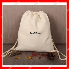 (300pcs/lot) size 24x32cm custom  blank cotton canvas drawstring backpack custom logo bag(China (Mainland))