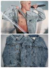 Best Quality Kanye West Fear Of God Light Blue Denim Jackets Mens Vintage Style Selvedge Jean Coats Designer Brand Clothing