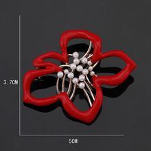 Baiduqiandu Merek Mawar Merah Enamel Fashion Coral Bros Pin untuk Wanita dengan Mutiara Imitasi(China)