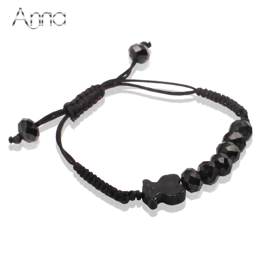 Гаджет  Free shipping. Tou black Agate stone and crystal bead women fashion rope bracelet.  Gift idea. trending bracelet.  Jewelry set None Ювелирные изделия и часы