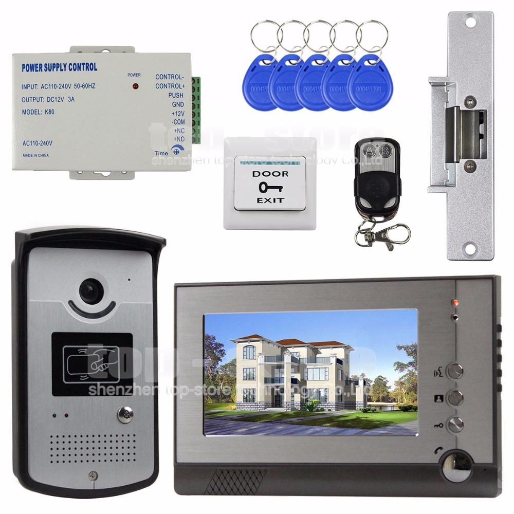 Remote control strike lock 7 inch tft color video door phone visual intercom - Interphone video maroc ...