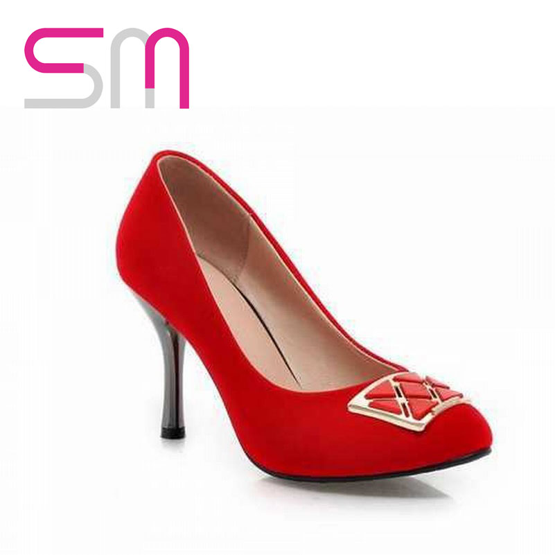 Big Size32-47 Metal Charm Sexy Hoof Heel Pumps 2015 Brand Red Bottoms High Heels Shoes Spring Pumps Summer Shoes Women Shoes