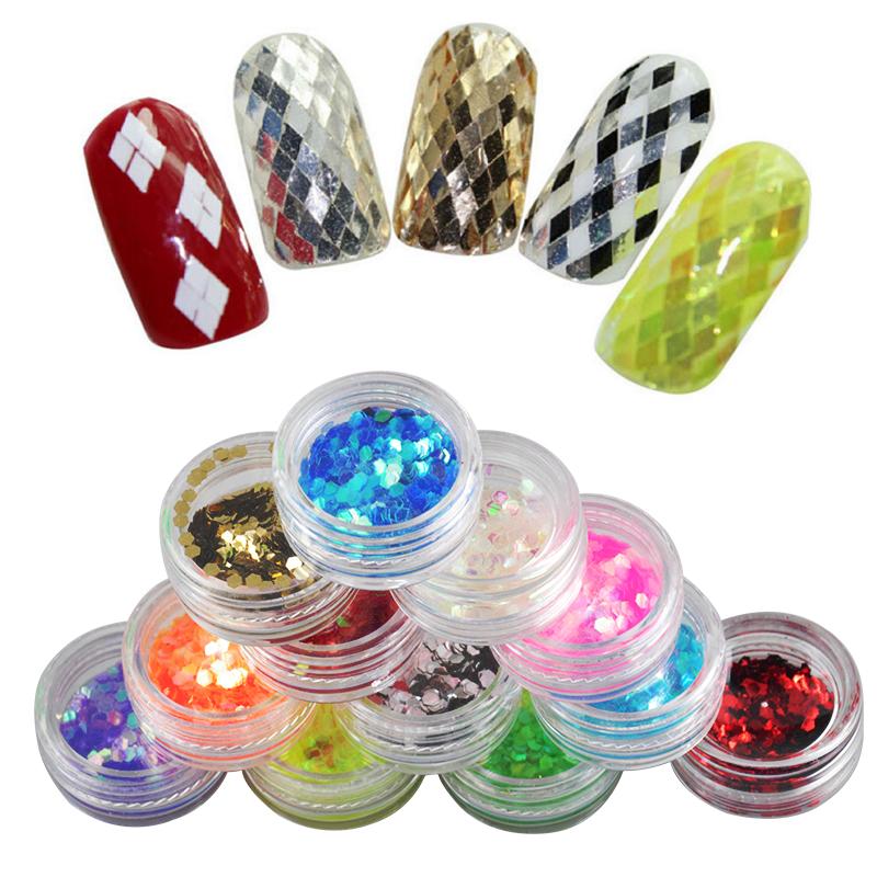 2016 New Design 12 Colors Nail Art Decorations Rhombus Paillette Glitter Nails Glitter 3D Slice Powder Set Finger Design(China (Mainland))