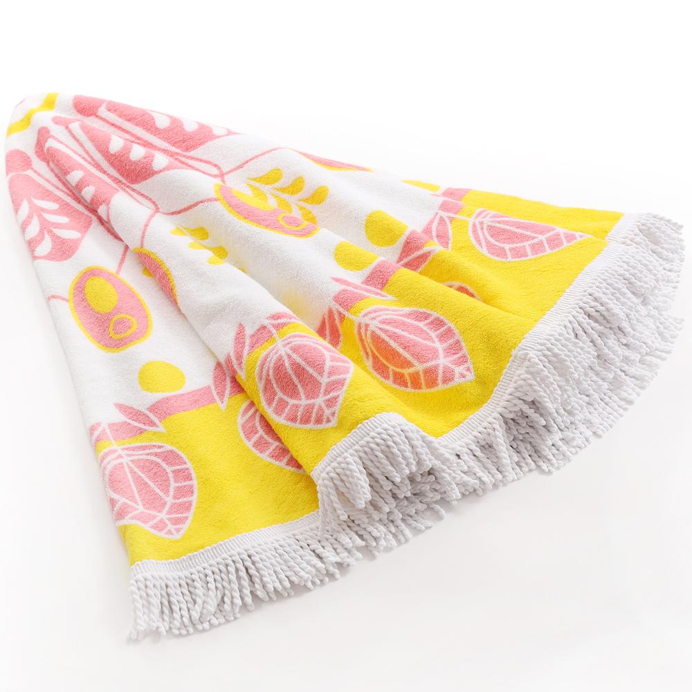 Round Bohemia Beach Towel 100% Cotton Printed Tassel Knitted 150*150cm
