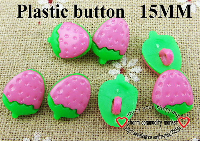 40PCS Strawberry shape pink Dyed Plastic cartoons buttons coat boots sewing clothes accessories P-080-8(China (Mainland))