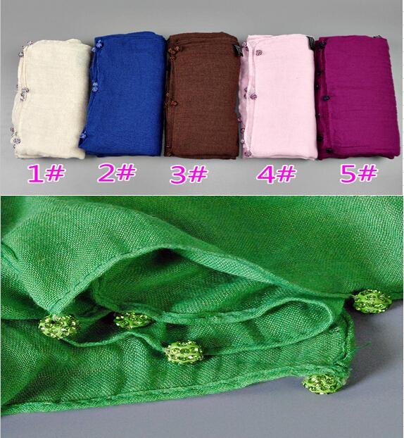 Wholesale plain crystal diamond ball scarf fashion cotton viscose long shawls muslim hijab wrap scarves/scarfОдежда и ак�е��уары<br><br><br>Aliexpress