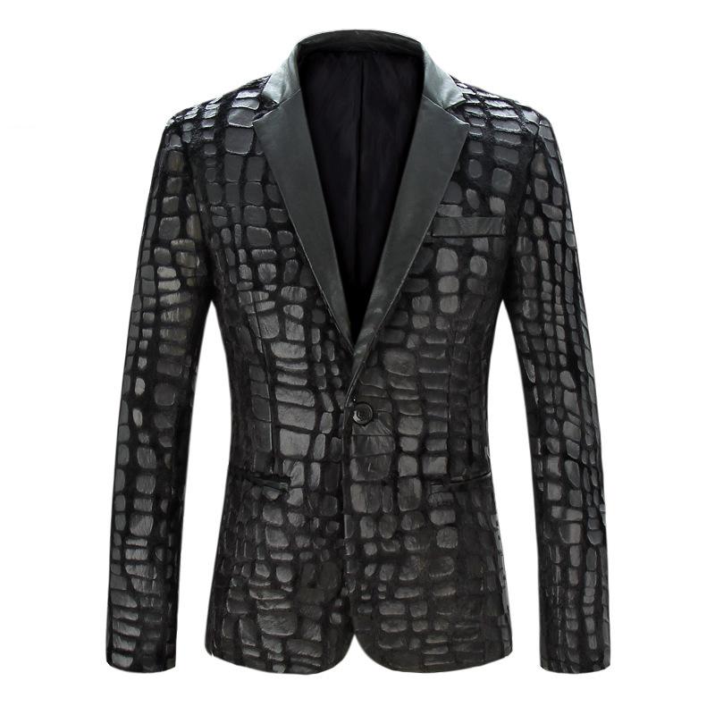 Men Blazer Jacket 2015 New Brand Casual Faux Leather Spliced Velvet Suit Fashion Pieces Design Blazer 13M0464Одежда и ак�е��уары<br><br><br>Aliexpress