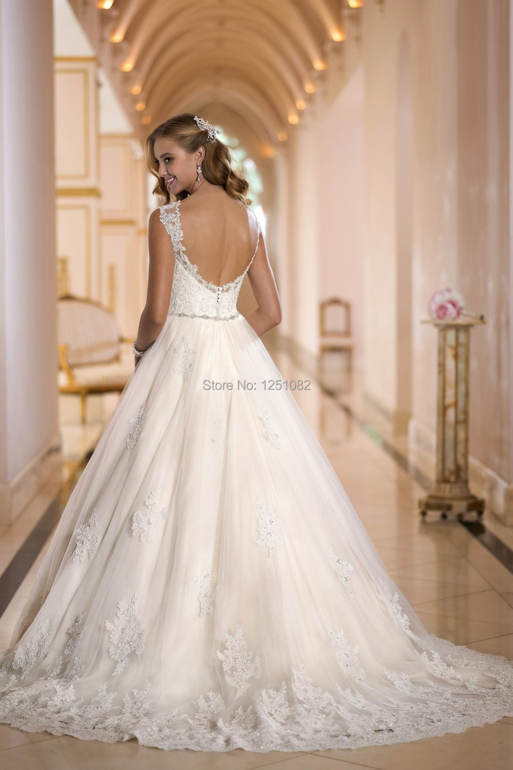 ... -Appliques-Tulle-Sexy-Open-Back-Ball-Gown-Wedding-Dresses-2015.jpg Open Back Ball Gown Wedding Dresses