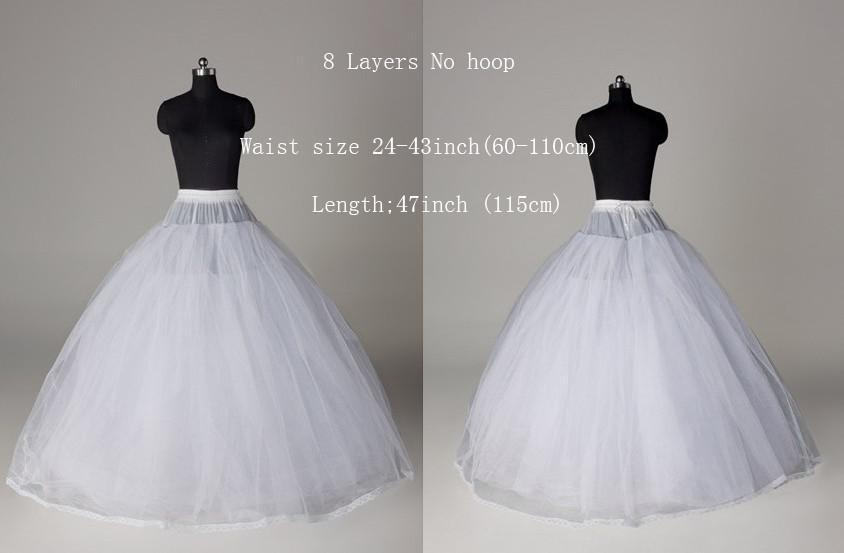 Ball gown style 8 layer tulle no hoop white petticoat for Tulle petticoat for wedding dress