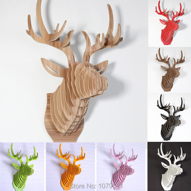Deer Head,Home Decoration,Wall Art Diy Wooden Craft Wall Decor Wall Stickers Home Decor,Christmas Decoration,Wood Animal 9 Color(China (Mainland))