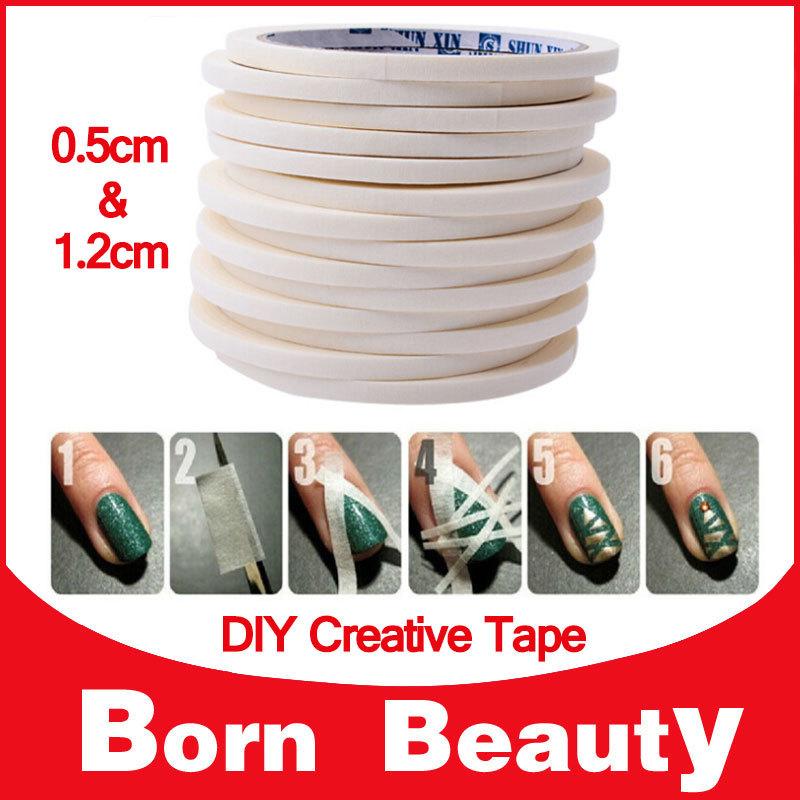Nail Art Adhesive Tape,0.5cm&1.2cm 4pcs/lot 17m Creative Design Nail Stickers,Strong Sticky Glue for DIY Nail Gel Polish Tools(China (Mainland))