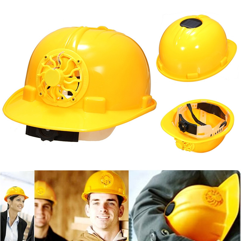 New Design Adjustable 0.3W PE Solar Powered Safety Security Helmet Hard Ventilate Hat Cap with Cooling Cool Fan Yellow(China (Mainland))