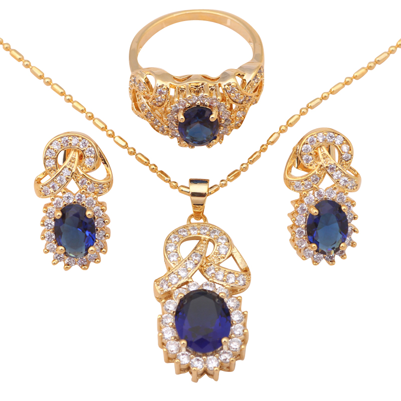 Fashion Jewelry Gold Plated Blue Crystal Zircon best quality Earrings Necklace Ring Sz #8 #9 #7 sets JS431A - Jos fan's store
