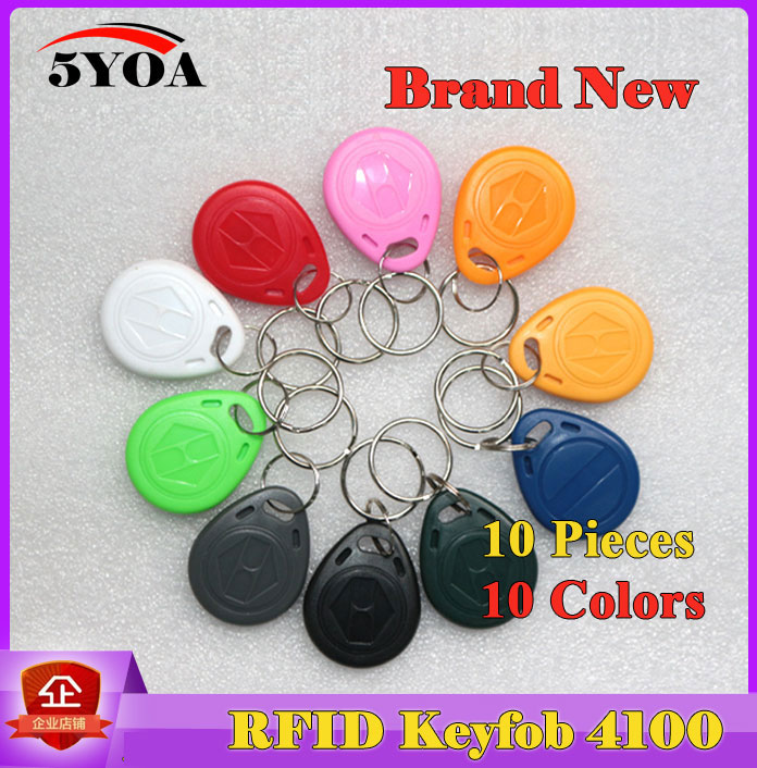 10Pcs RFID Tag Key Fob Keyfobs Keychain Ring Token 125Khz Proximity ID Card Chip EM 4100/4102 for Access Control Attendance