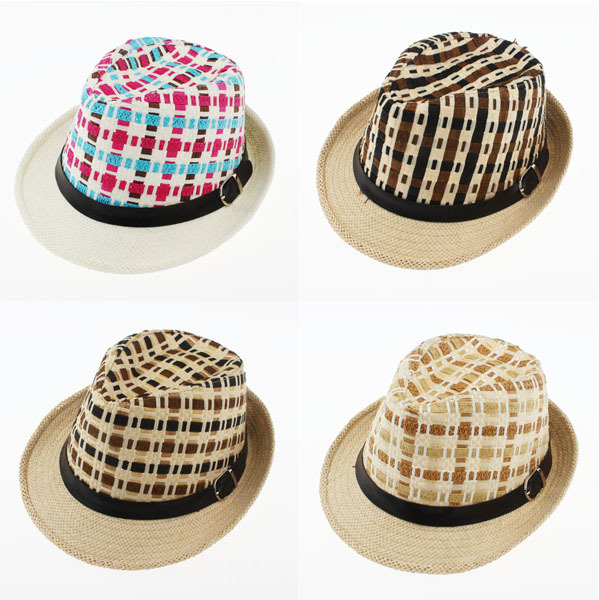 Mixed 4 Colors Order Boys and Girls Trilby Hats Child Summer Beach Sun Visor Cap Paper Straw Plaid Fedora Hats 52cm for Kid 2-7YОдежда и ак�е��уары<br><br><br>Aliexpress