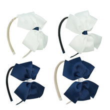 """5.3 """" Hand Made Grosgrain Hairband With Bow White Navy Two Colors Hairbow With Band Baby Girls Boutique Hair Accessories(China (Mainland))"""