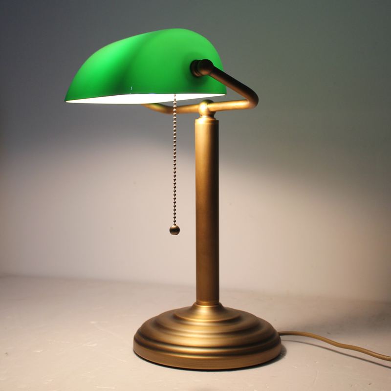 Full Copper Brass Bankers Table Lamp Desk Light Vintage Antique Green Glass S