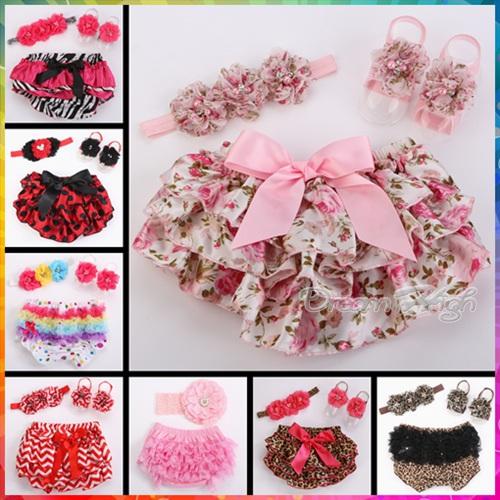 Baby Ruffle Shorts Pearl Shabby Flower Headbands Set,baby girl shorts for 0-3 Year Roupas Infantil Meninas,infant girl bloomers(China (Mainland))