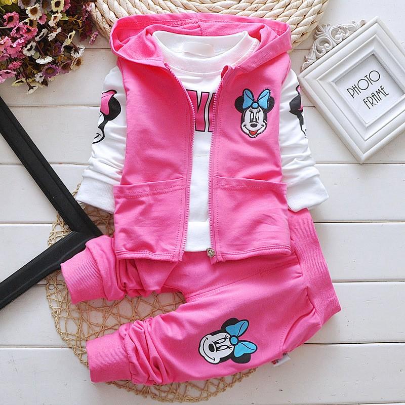 2015 New fall Baby Girls Suit cartoon Minnie coat+t shirt+pants 3pcs/set long-sleeved children autumn clothes kids Free shipping<br><br>Aliexpress