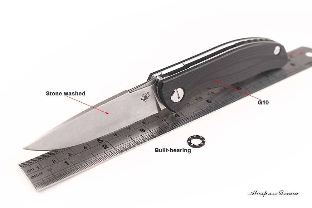 hx2015 Small Shirogorov EVO Pattern Bearing Stone washed Blade Black G10 Handle Tactical Folding knife Edc Survival Pocket knife(China (Mainland))