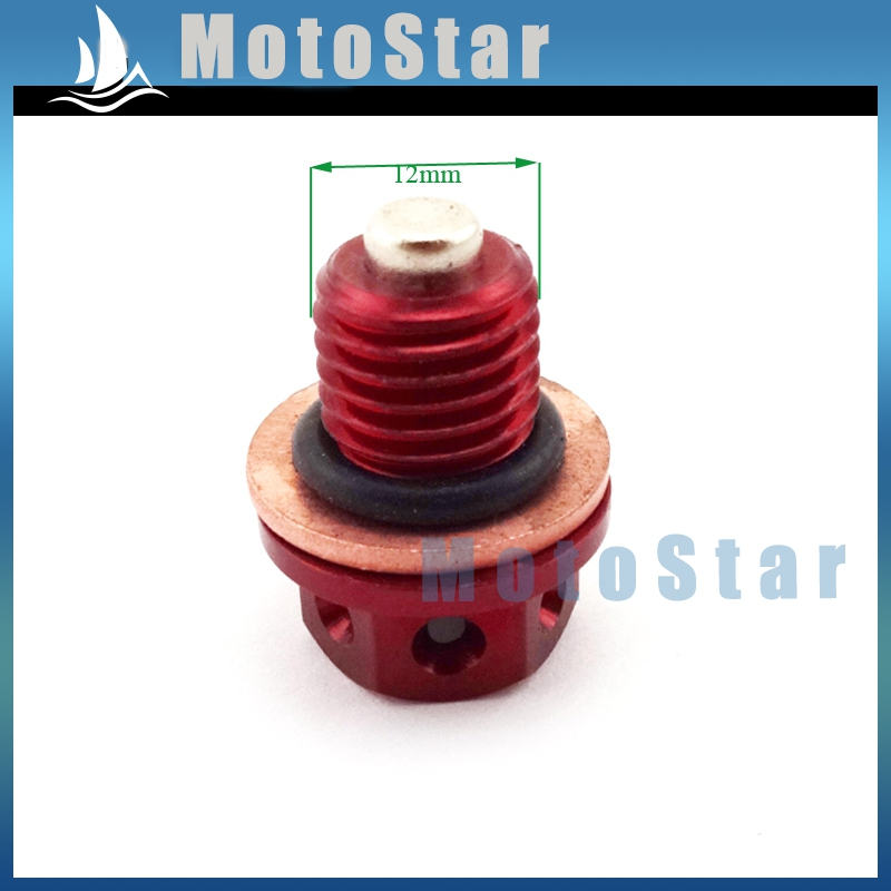 Red Oil Magnetic Drain Bolt Plug For Chinese Engine Lifan YX Zongshen Loncin Pit Dirt Bike 50cc 90 110 125cc 140cc 150cc 160cc(China (Mainland))