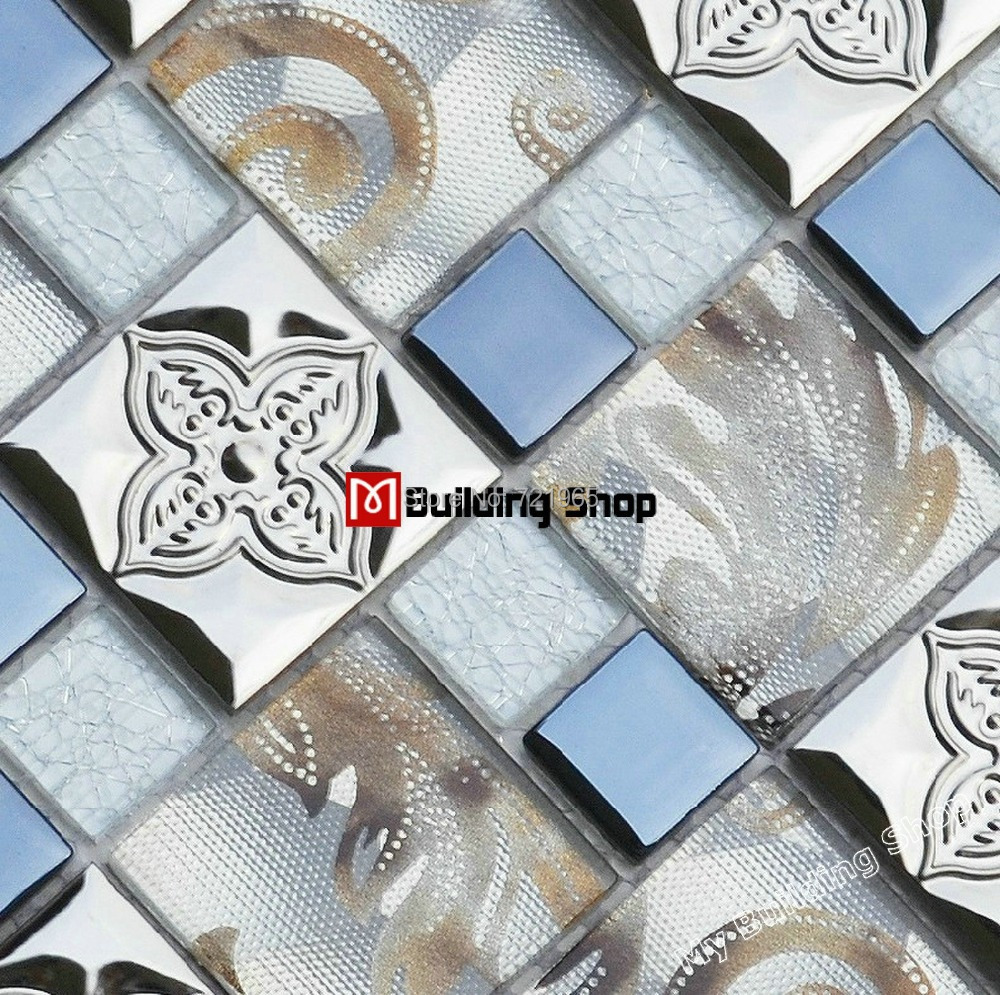 Stainless steel and glass tile backsplash