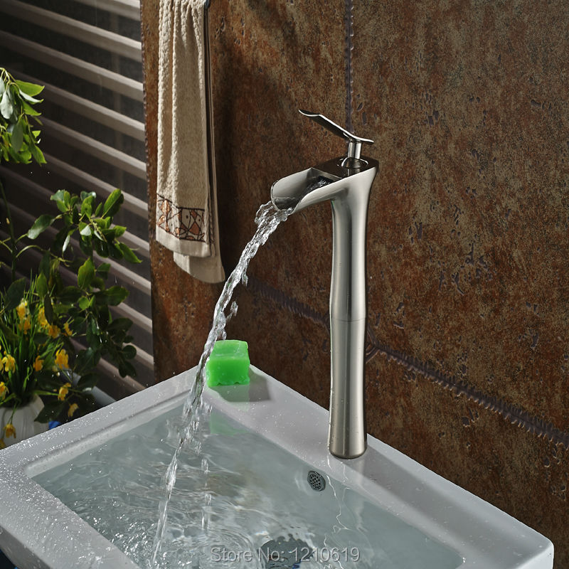 Фотография Newly Nickel Brushed Tall Bathroom Sink Faucet Waterfall Basin Mixer Tap Vessel Faucet Single Handle
