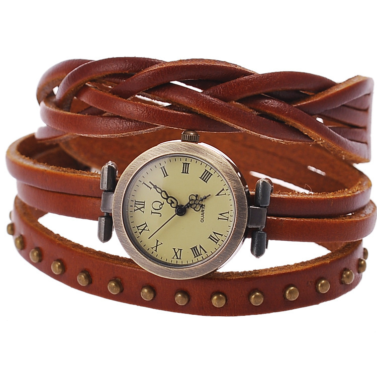 2015 new fashion Rome rivet leather retro table watches 2 laps twist weave rivet watches women quartz Watch relogio feminino(China (Mainland))
