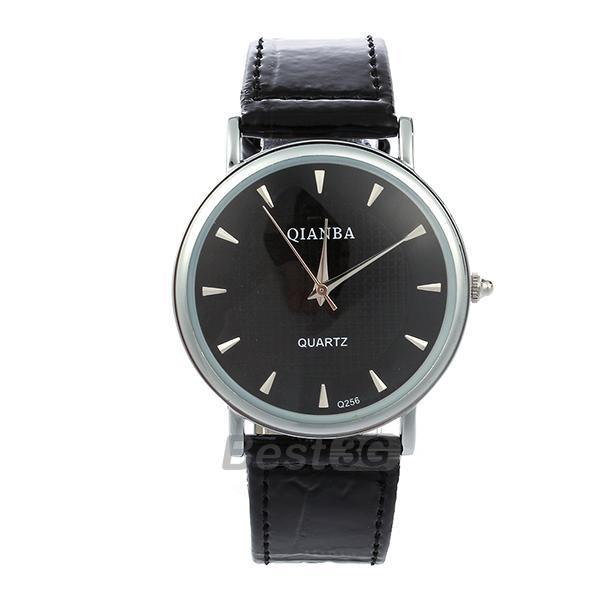 Black Leather Band Quartz Movement Wristwatch Wrist Watch Men<br><br>Aliexpress