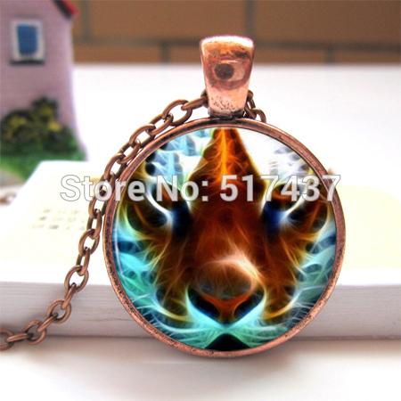 Free Shipping Tiger Necklace Pendant Silver Wild Cat Animal Tiger Eye Jewelry Glass Photo Pendant Neckalce(China (Mainland))