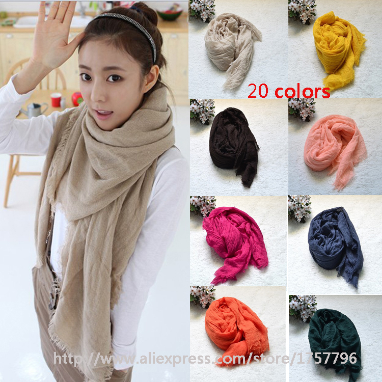 free shipping Cheapest Winter Women Fashion Solid Cotton Voile Warm Soft Candy Scarf Shawl Cape 20 Colors Available(China (Mainland))