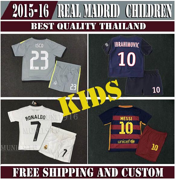 20115/2016 real madrid kids boy soccer jerseys SUAREZ James bale Kroos Ramos Isco children shirts real madrid 15 16 RONALDO kids(China (Mainland))