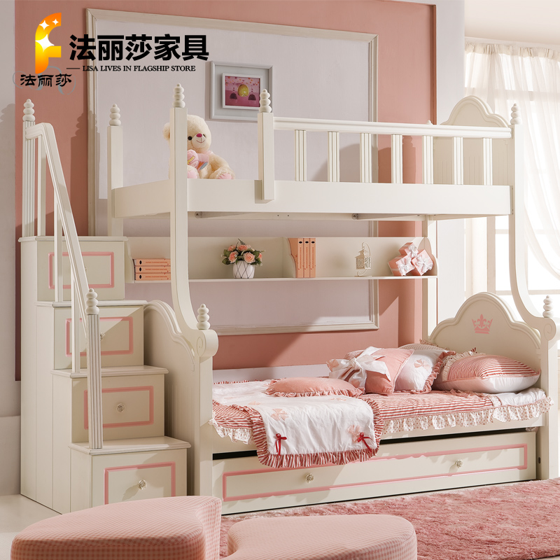 Children's furniture Furniture T1 teenagers white princess bunk bed bunk bed combination picture special packages(China (Mainland))