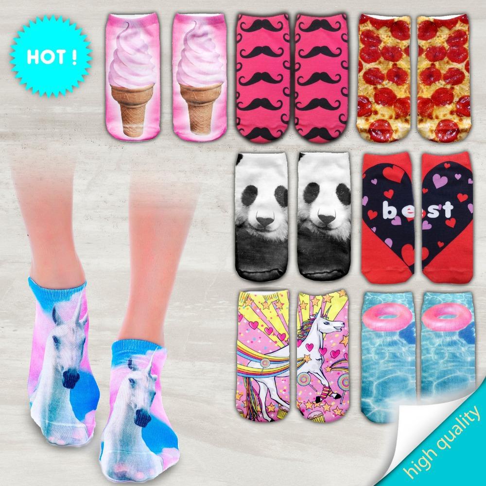 Гаджет  socks print 3d unicorn blue pink None Одежда и аксессуары