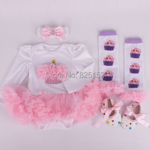 2015 4pcs/set Newborn Girl Dress Suit Santa baby christmas costumes infant jumpersuit+socks+band+shoes Party Cosplay Gift 0- 12M(China (Mainland))
