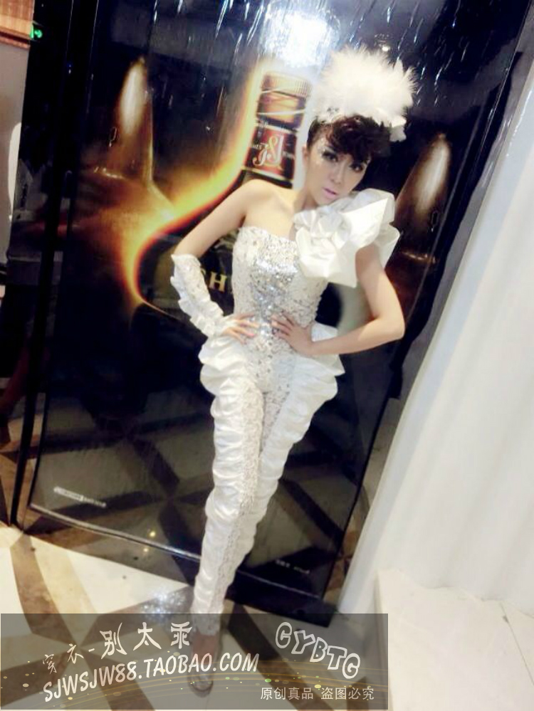 Fashion sexy sparkling diamond  female singer ds costume ds lead dancer stage pricess costumes