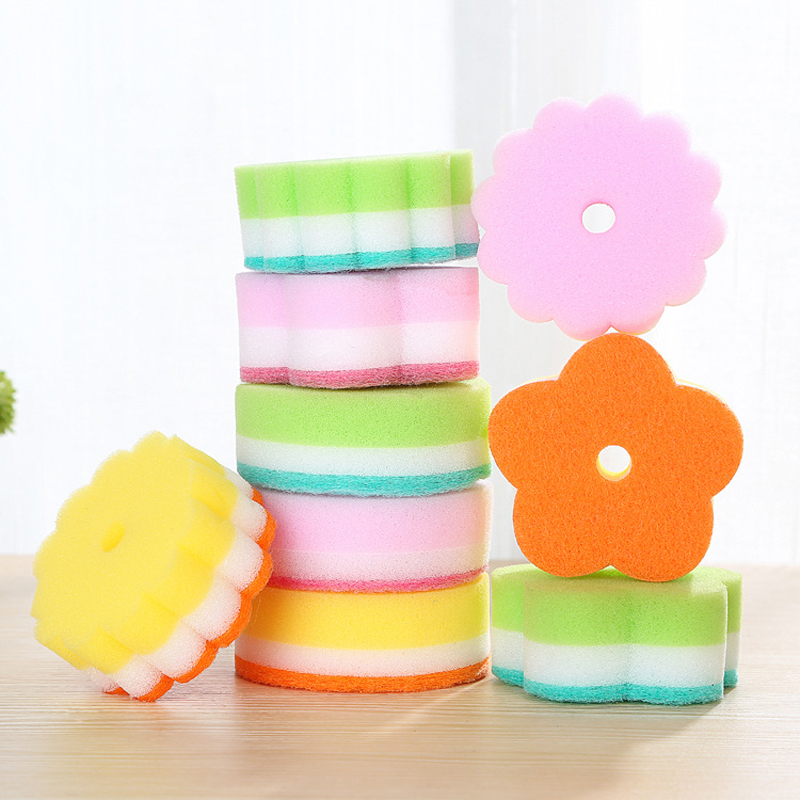 Flower dishwashing dish sponge cloth kitchen cleaning ball strong decontamination brush 10g Sponges Scouring Pads(China (Mainland))