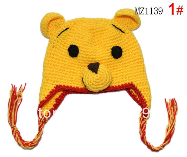 Free shipping New Handmade Baby Cap Fashion Crochet Baby Caps Baby Knitted Caps Lovely Bear style Embroidery Hat