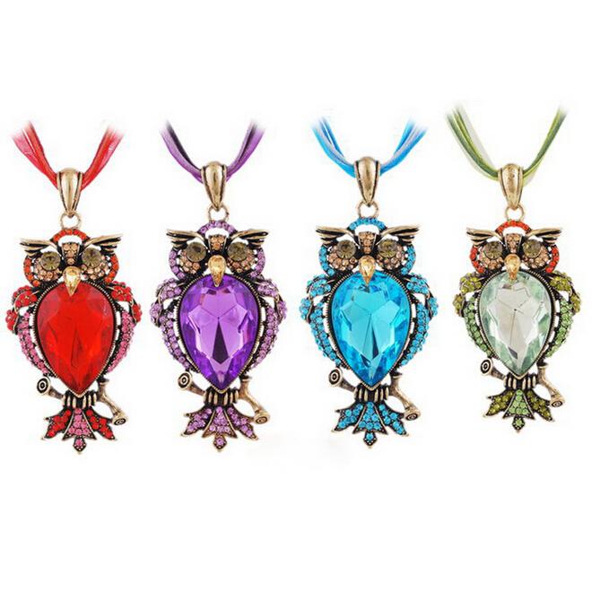 Popular fashion simple colorful owl necklace Pendant Bib Statement Necklace - factory hotsale store