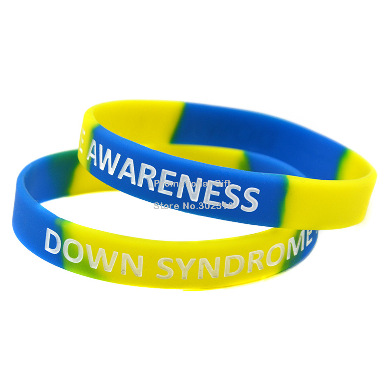 1PC Down Syndrome Awareness Silicon Bracelet, Great For Daily Reminder By Wearing This Colourful Wristband(China (Mainland))