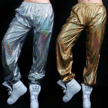 Лазерная Светоотражающие Блестки Джаз хип-хоп хип-хоп Танец Брюки Брюки для Мужчин ...