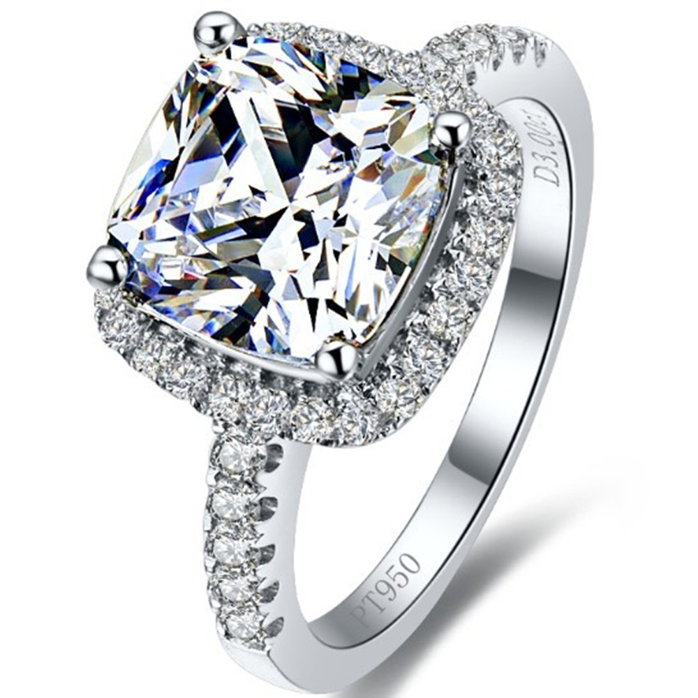 2 Carat White Gold 14K Cushion Surprised Synthetic Diamond Wedding Ring For Women Perfect Valentine's Day Gift Express Delivery(China (Mainland))