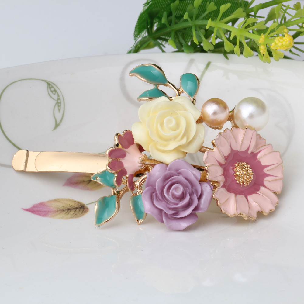 Free Shipping Ceramic Hairpin High-end Handmade Chinese Style HairJewelry Woman Vintage Flower Jewelry Hair Barrenttes(China (Mainland))